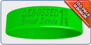 wide debossed rubber bracelet